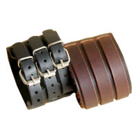 EE_ Men Faux Leather Multilayer Belt Bracelet 3 Buckles Wristband Cuff Bangle Sa