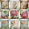 """18"""" Cotton Linen Knit Printed flower Pillow Cases Cushion Cover Home Decor"""
