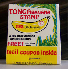 Rare Vintage Matchbook Cover S2 Tonga Banana Stamp Offer Coupon Postage Fruit