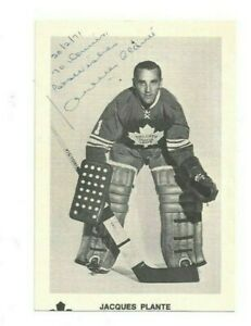 Jacques Plante Toronto Maple Leafs Hockey HOFer Autographed Postcard Photo JSA
