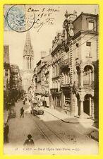cpa 14 - CAEN en 1905 (Calvados) Rue et l' ÉGLISE SAINT PIERRE à B. Pié de Paris