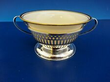 Elegant Wallace Sterling Silver Bouillon Cup and Lenox Liner w/ Gold Rim