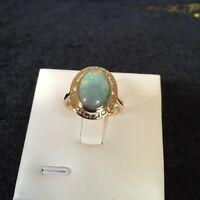 2.15CT Solid Opal Black Opal Ring set 9K Gold Weight 3.25G #071223