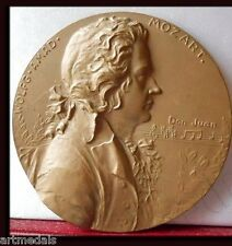 LARGE 90mm BRONZE ART MEDAL MOZART GREATEST COMPOSERS AUSTRIA GERMANY