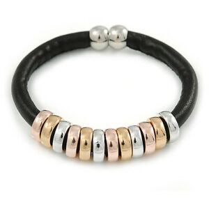 Black Leather with Silver/ Gold /Rose Gold Metal Rings Magnetic Bracelet - 19cm