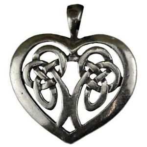 """NEW Celtic Heart Amulet 1.25"""" Pewter Pendant Silver Lovers Knot - US Made!"""
