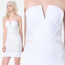 BEBE WHITE MESH STRAPLESS DRESS NEW NWT $129 XXSMALL XXS