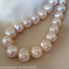 Rare Huge 11-12mm White Freshwater Natural Pearl Roundel Loose Beads 15''