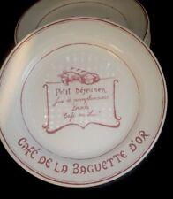 4 Williams Sonoma Petit Dejeuner Cafe de La Baguette D'or Red Plates New