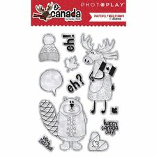 Photo Play O Canada Clear Acrylic Stamp Set Moose Beaver Words Sentiments