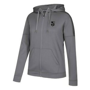 Los Angeles Kings NHL Adidas Women's Grey Stitched ClimaWarm Full Zip Hoodie