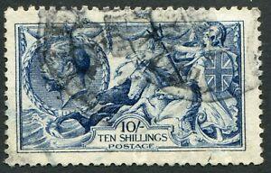 (924)  VERY GOOD USED 1915 GV 10/- DEEP BLUE SEAHORSE SG411