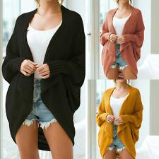 Manga Murciélago Tamaño Grande Largo Tejido Cardigan Sweater puntada abierta para mujer Suéter Suave