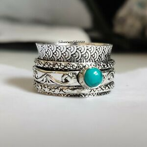 Turquoise Spinner Ring 925 Sterling Silver Plated Handmade Ring Size 9.5 P529