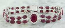 5Ct Oval Cut Pink Ruby & Sim Diamond Womens Link Bracelets 14K White Gold Plated