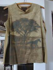 Vintage Wrangler Womens Sleeveless Top Sepia Horse in Field Scene Tree Medium M