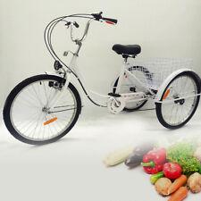 """Triciclo adulto bianco, 24"""" 3 RUOTA 6 velocità seniorly Cargo bicicletta e Lampada Cesto"""