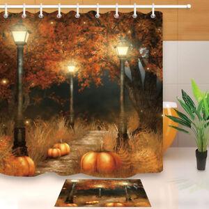 Waterproof Fabric Forest Street Light Pumpkin Shower Curtain Halloween Bathroom