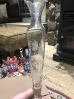 """Vintage Etched Glass Bud Vase Approx. 10"""" Tall Ruffled Scalloped Rim"""