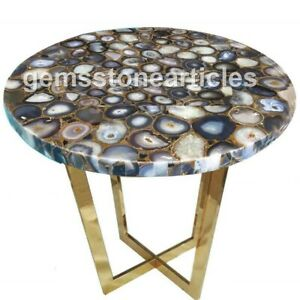 "20""x20"" Round Black Agate Natural Color Stone Art Side Table Top Wedding Gift"