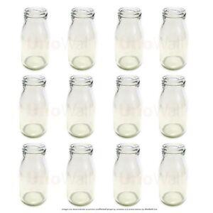 Set of 12 Mini Glass Milk Bottles - Weddings, BBQ, Parties. 200ml
