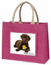 Choc Labrador 'Happy Easter' Large Pink Shopping Bag Christmas Pr, AD-CBR1DA1BLP