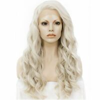Women Long Curly Wavy Blonde Wig Heat Resistant Synthetic Lace Front Wig Cosplay
