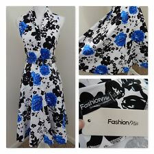 NWT~Fashion MIA Dress~Royal Blue/White Floral Deep Aline Midi Belt~1950 Inspired