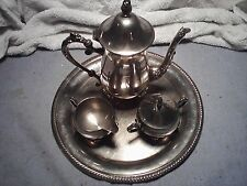 silver plated  tea/coffee pot with tray and sugar bowl & milk bowl