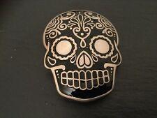 MEXICAN SUGAR SKULL New BELT BUCKLE Metal BLACK Enamel Tattoo Skull