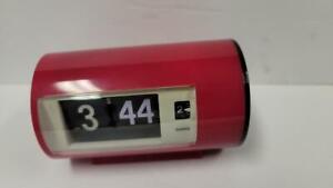 Retro Red Analog Flip Desk Table Clock with Alarm