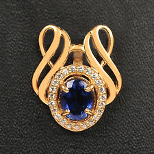 1.75Ct Natural Blue Tanzanite EGL Certified Diamond Pendant In 14KT Yellow Gold