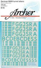 Archer German WW II Turret Letters Blue Yellow Transfer Decals AR35059BLY