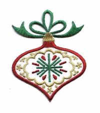 Christmas Ornament Onion Bulb Red/Green/Gold Iron on Applique/Embroidered Patch