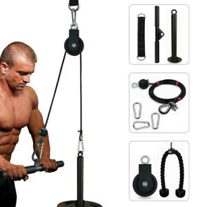 LAT Fitness Pulley Cable Machine System For Home Gym Arm Biceps Triceps Blaster