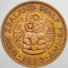 1960 NEW ZEALAND 1/2 HALF PENNY HIGH GRADE CHOICE COLOR BEAUTIFUL TONED (DR)