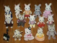 CALICO CRITTERS LOT of 15 FIGURES Chocolate Rabbits Cats kids kittens Cloths