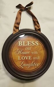 BLESS OUR HOME WITH LOVE & LAUGHTER~Farmhouse Style Round Hanging WORLD SHIP!