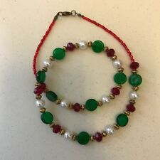 with White Glass Pearls Gold Tone Handmade Necklace Red and Green Glass Beads
