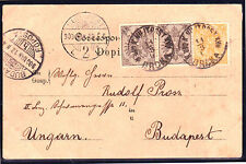 AUSTRIA BOSNIA 1900. POSTCARD 1 heller pair RIBBED PAPER please see description