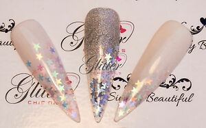 STAR SHAPED HOLOGRAPHIC RAINBOW AND METALLIC GLITTER FOR NAIL ART