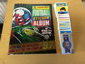 275 X Panini 97 PFA Unused Football Stickers with Album + 19 Stickers (4 autos )