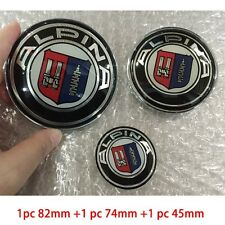 3pc Alpina Car Front Hood Badge Rear Trunk Emblem Steering Wheel Sticker for BMW