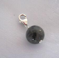 925 sterling silver natural BLACK LABRADORITE Larvikite gemstone clip on charm