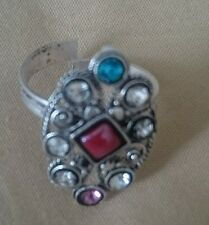 New Rhinestone Crystal Silver Red Bollywood Indian  Style Toe Ring Adjustable