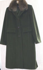 Ellen Tracy Company Green Wool Cashmere Nylon Fox Fur Collar Women Coat Size:12