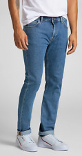 LEE SLIM RIDER TAPERED STRETCH BLUE DENIM JEANS - MID STONE WASH W33 L30 RRP £85