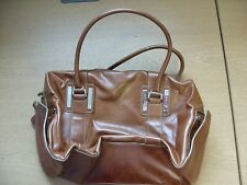 "Ladies Handbag Fiorelli brown faux leather, bowling bag, 14x9x5"" + handles 3419"