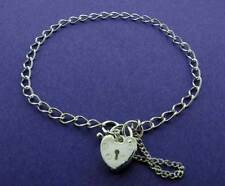 925 STERLING SILVER CHARM BRACELET LADIES CURB CHAIN LINK HEART PADLOCK CHARMS