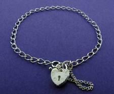 Señoras plata esterlina 925 pulsera con dijes corazón candado encantos de enlace Cadenilla